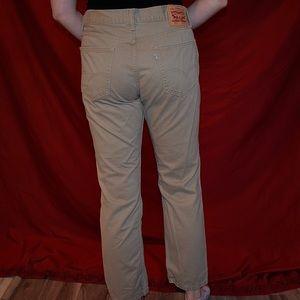 Khaki High-Waisted, Straight Leg Levis 511